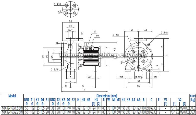 Máy bơm nước ly tâm Ebara MD 32-160 bảng thông số kích thước