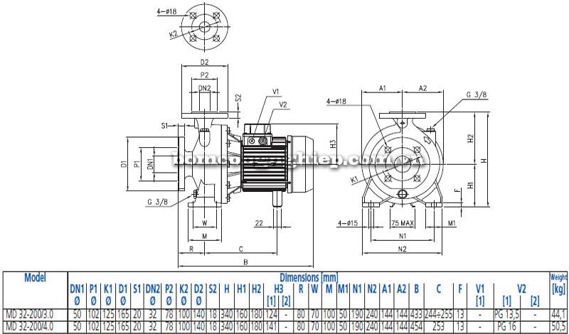 Máy bơm nước ly tâm Ebara MD 32-200 bảng thông số kích thước