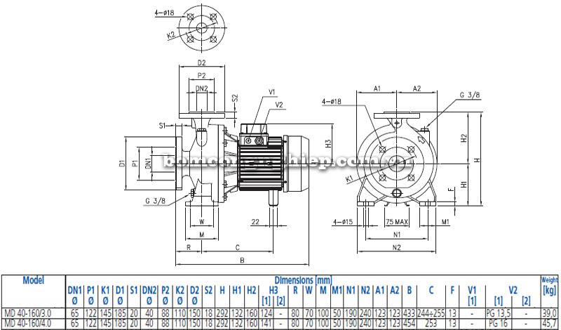 Máy bơm nước ly tâm Ebara MD 40-160 bảng thông số kích thước