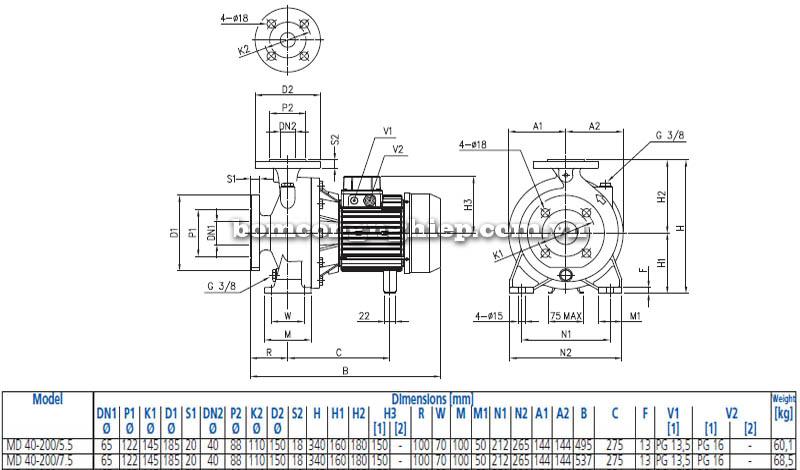 Máy bơm nước ly tâm Ebara MD 40-200 bảng thông số kích thước