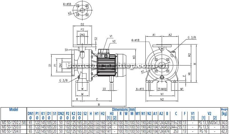 Máy bơm nước ly tâm Ebara MD 50-125 bảng thông số kích thước