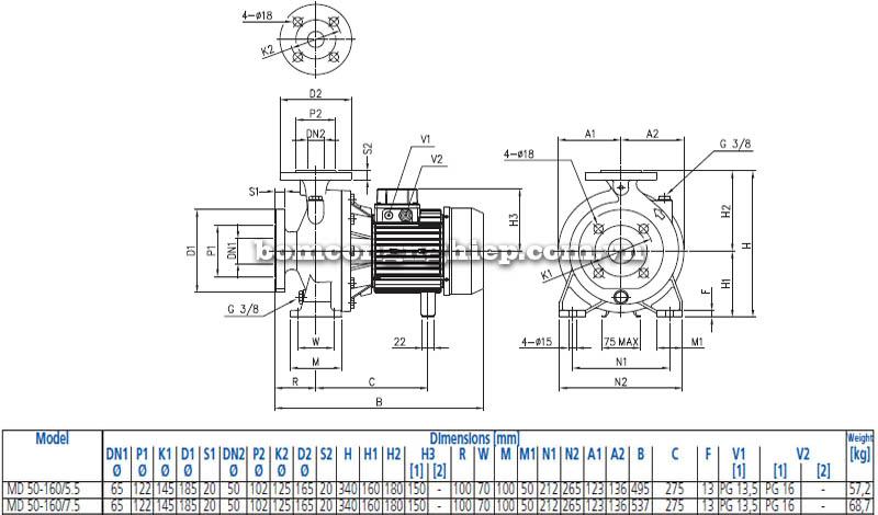Máy bơm nước ly tâm Ebara MD 50-160 bảng thông số kích thước