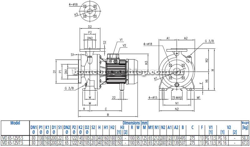 Máy bơm nước ly tâm Ebara MD 60-125 bảng thông số kích thước