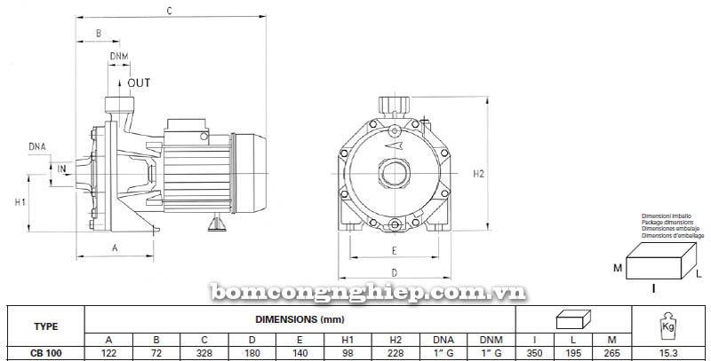 Máy bơm nước ly tâm Pentax CB 100 bảng thông số kích thước