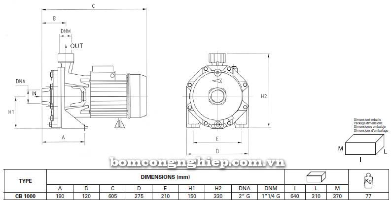 Máy bơm nước ly tâm Pentax CB 1000 bảng thông số kích thước