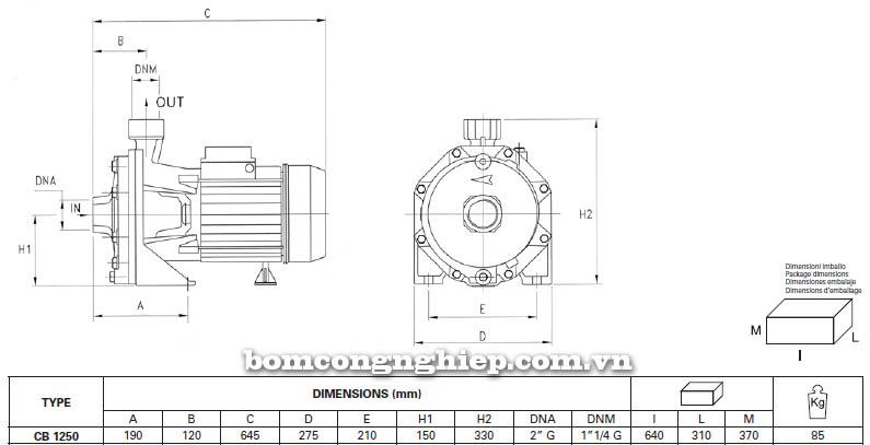 Máy bơm nước ly tâm Pentax CB 1250 bảng thông số kích thước