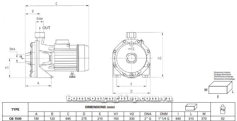Máy bơm nước ly tâm Pentax CB 1500 bảng thông số kích thước