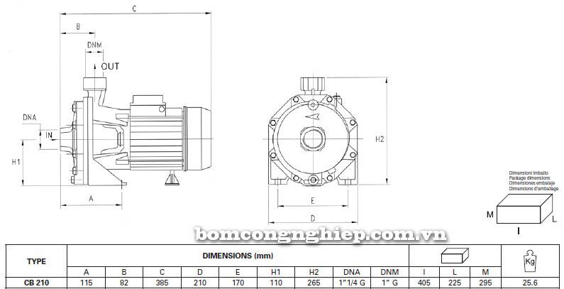 Máy bơm nước ly tâm Pentax CB 210 bảng thông số kích thước