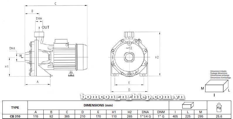 Máy bơm nước ly tâm Pentax CB 310 bảng thông số kích thước
