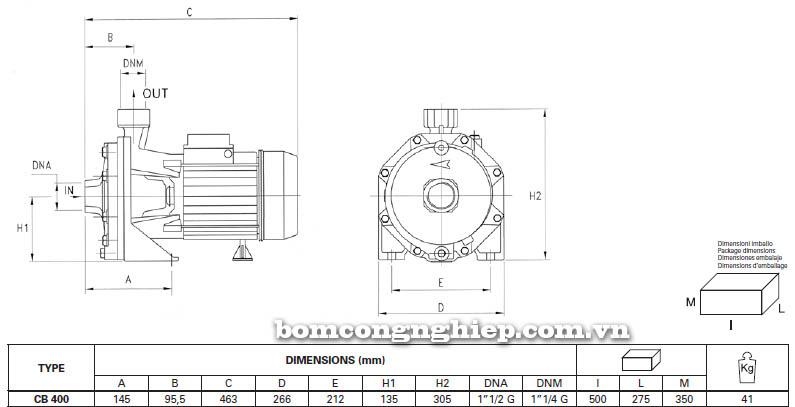 Máy bơm nước ly tâm Pentax CB 400 bảng thông số kích thước