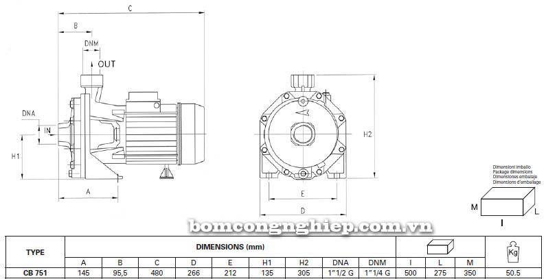 Máy bơm nước ly tâm Pentax CB 751 bảng thông số kích thước