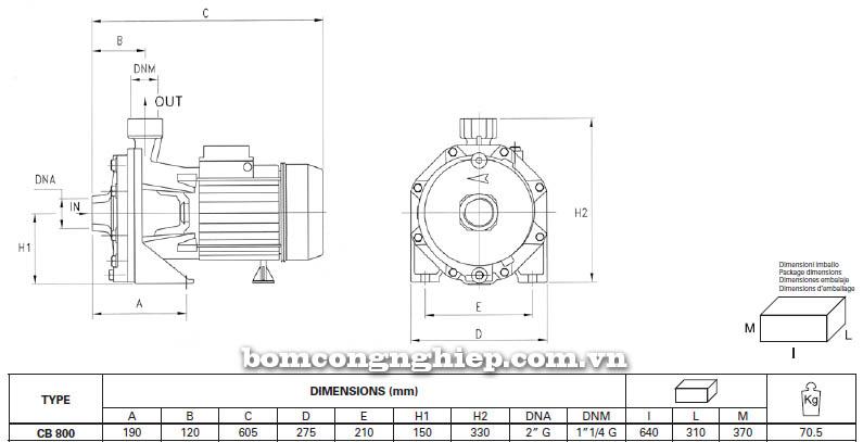 Máy bơm nước ly tâm Pentax CB 800 bảng thông số kích thước