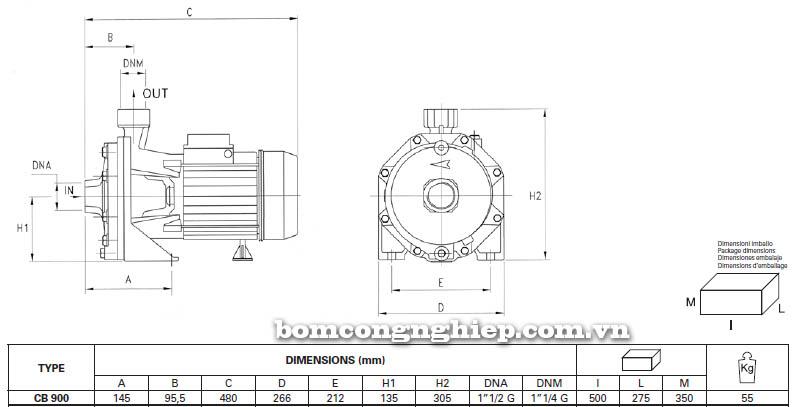 Máy bơm nước ly tâm Pentax CB 900 bảng thông số kích thước