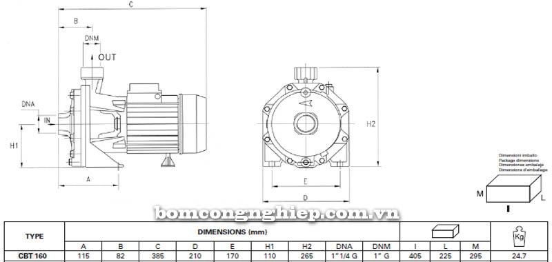 Máy bơm nước ly tâm Pentax CBT 160 bảng thông số kích thước