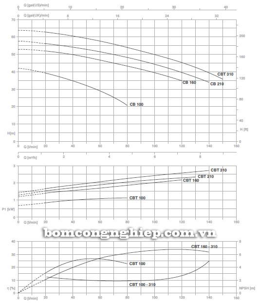 Máy bơm nước ly tâm Pentax CBT 310 biểu đồ hoạt động