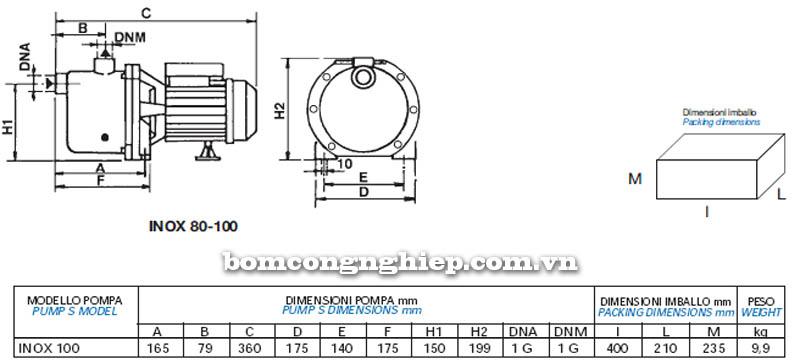 Máy bơm nước Matra INOX-100 bảng thông số kích thước