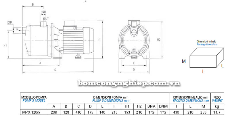 Máy bơm nước Matra INOX-200 bảng thông số kích thước