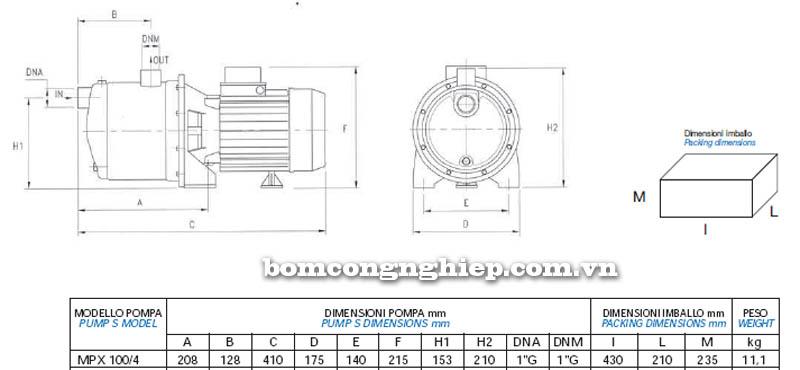 Máy bơm nước Matra MPX-100 bảng thông số kích thước