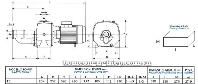 Máy bơm nước Matra TE-JET bảng thông số kích thước
