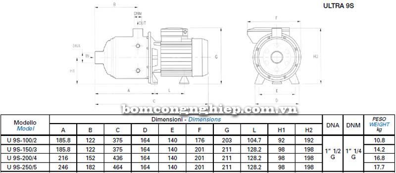 Máy bơm nước Matra ULTRA-9S bảng thông số kích thước