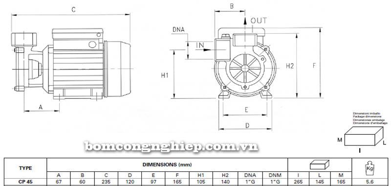 Máy bơm nước Pentax CP 45 bảng thông số kích thước