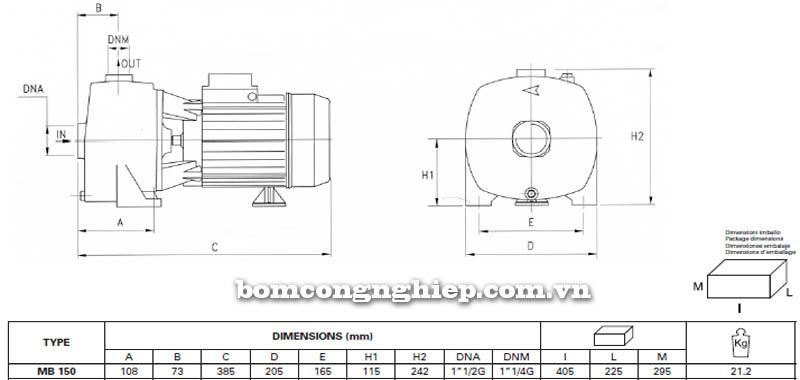 Máy bơm nước Pentax MB 150 bảng thông số kích thước