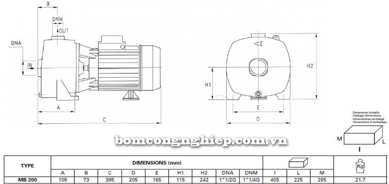 Máy bơm nước Pentax MB 200 bảng thông số kích thước