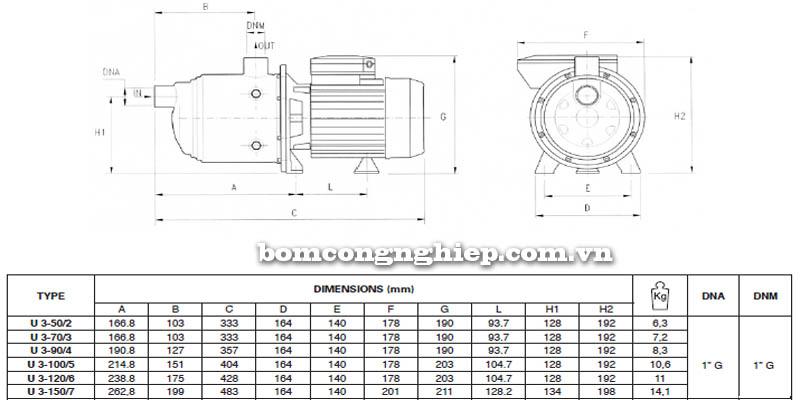 Máy bơm nước Pentax ULTRA 3 bảng thông số kích thước
