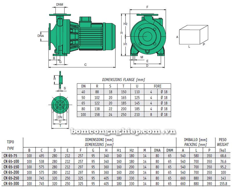 Máy bơm nước Sealand CN-65 bảng thông số kích thước