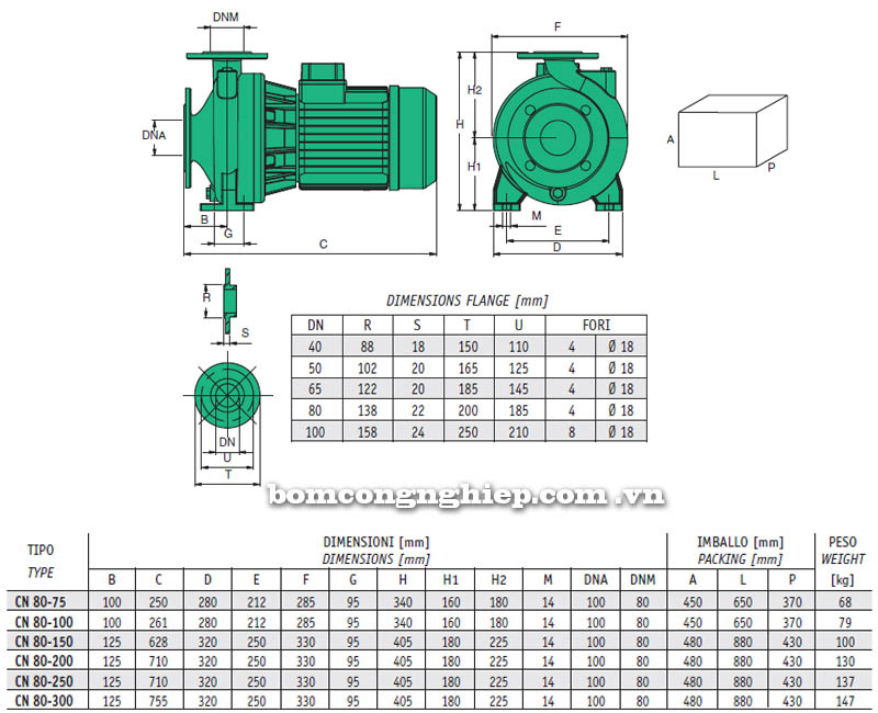 Máy bơm nước Sealand CN-80 bảng thông số kích thước