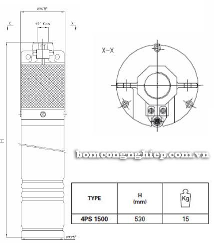 Máy bơm nước thả chìm Pentax 4PS 1500 bảng thông số kích thước
