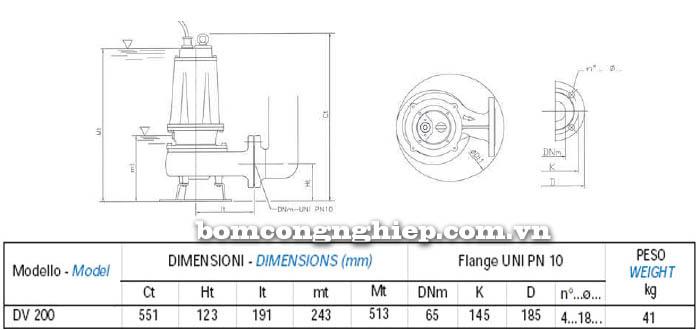 Máy bơm nước thải chìm Matra DV 200 bảng thông số kích thước