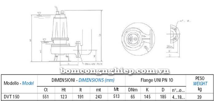 Máy bơm nước thải chìm Matra DVT 150 bảng thông số kích thước