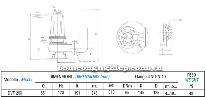 Máy bơm nước thải chìm Matra DVT 200 bảng thông số kích thước