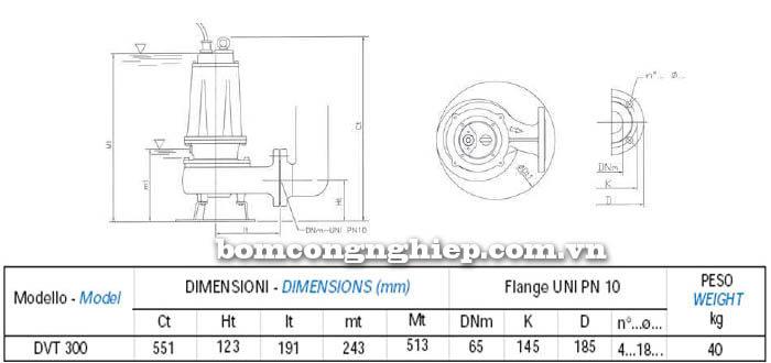 Máy bơm nước thải chìm Matra DVT 300 bảng thông số kích thước