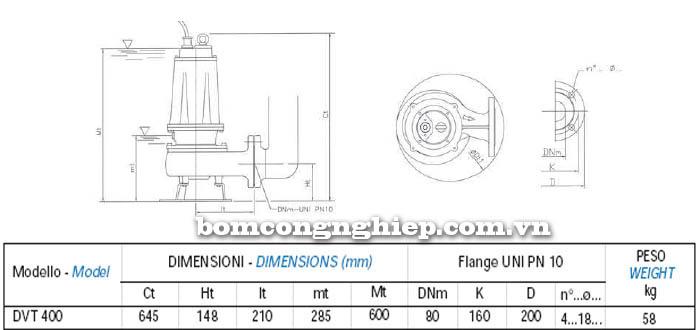 Máy bơm nước thải chìm Matra DVT 400 bảng thông số kích thước