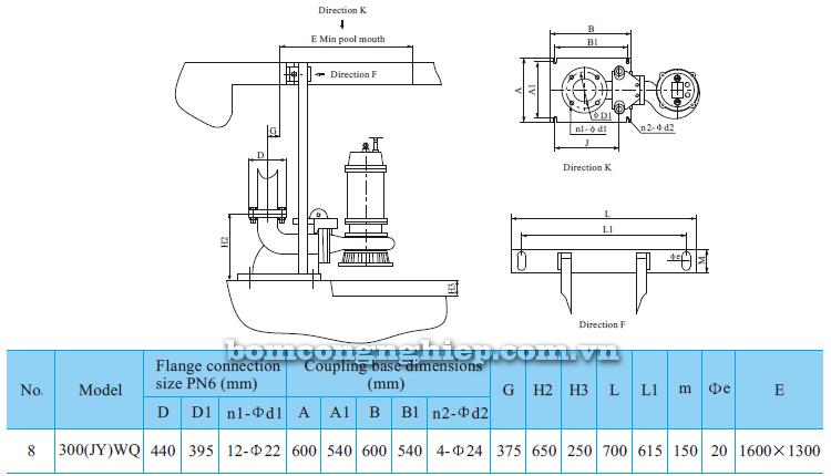 Máy bơm nước thải CNP 300-WQ bảng thông số kích thước