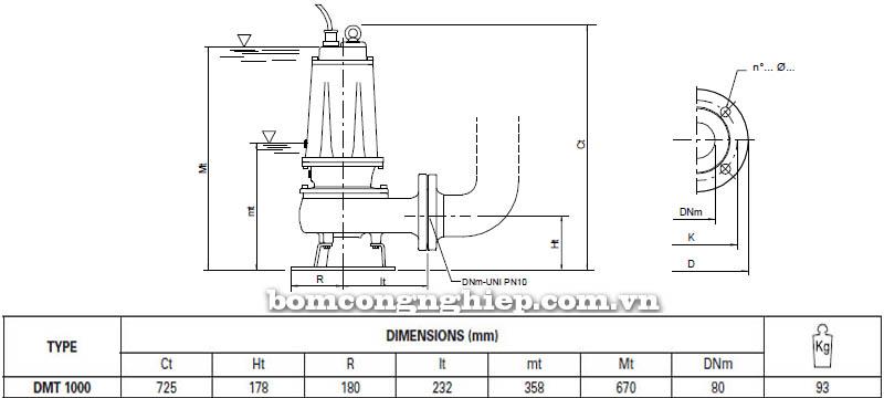 Máy bơm nước thải Pentax DMT 1000 bảng thông số kích thước
