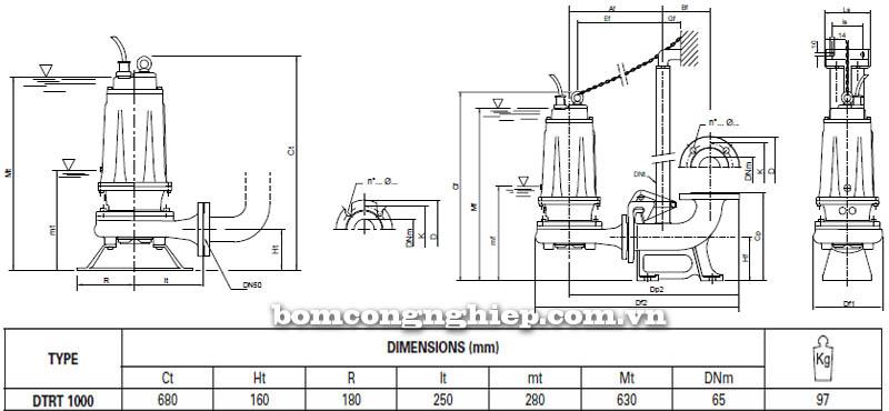 Máy bơm nước thải Pentax DTRT 1000 bảng thông số kích thước