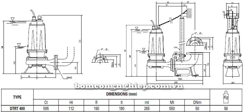 Máy bơm nước thải Pentax DTRT 400 bảng thông số kích thước