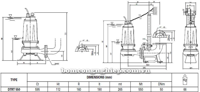 Máy bơm nước thải Pentax DTRT 550 bảng thông số kích thước