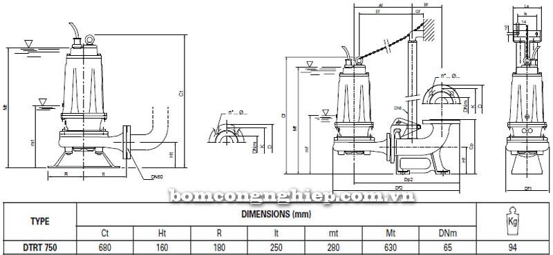 Máy bơm nước thải Pentax DTRT 750 bảng thông số kích thước