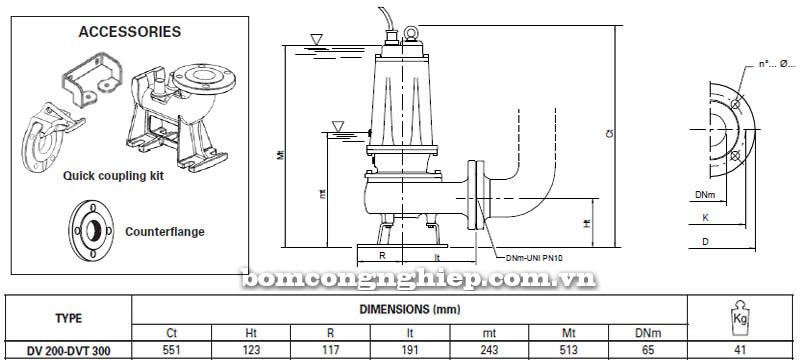 Máy bơm nước thải Pentax DV-DVT 200 bảng thông số kích thước