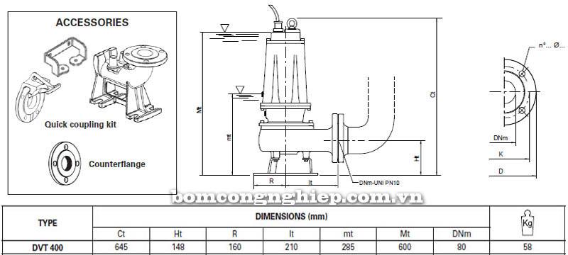 Máy bơm nước thải Pentax DVT 400 bảng thông số kích thước