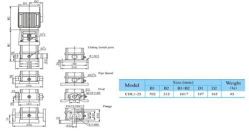 Máy bơm nước trục đứng CNP CDL 1-25 bảng thông số kích thước