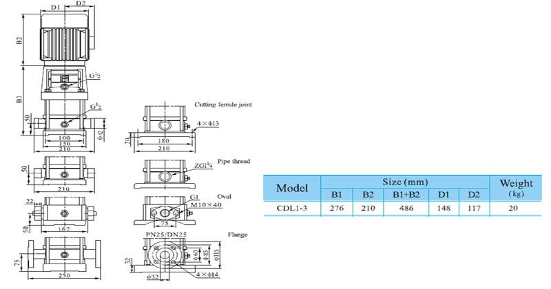 Máy bơm nước trục đứng CNP CDL 1-3 bảng thông số kích thước