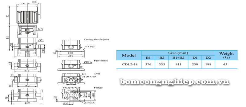 Máy bơm nước trục đứng CNP CDL2-18 bảng thông số kích thước