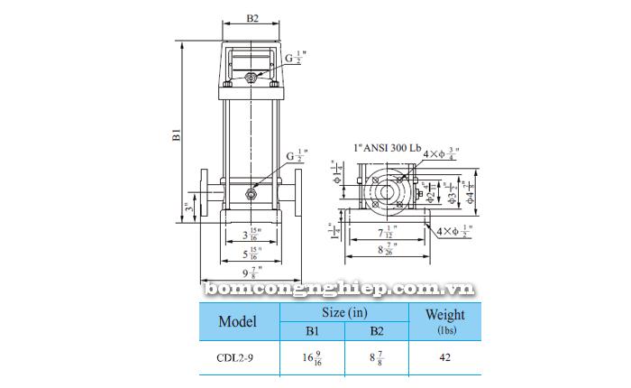 Máy bơm nước trục đứng CNP CDLF2-9 bảng thông số kích thước