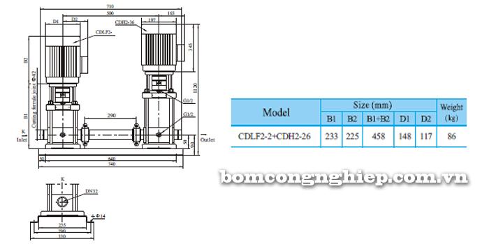Máy bơm nước trục đứng CNP CDLF2-2 bảng thông số kích thước