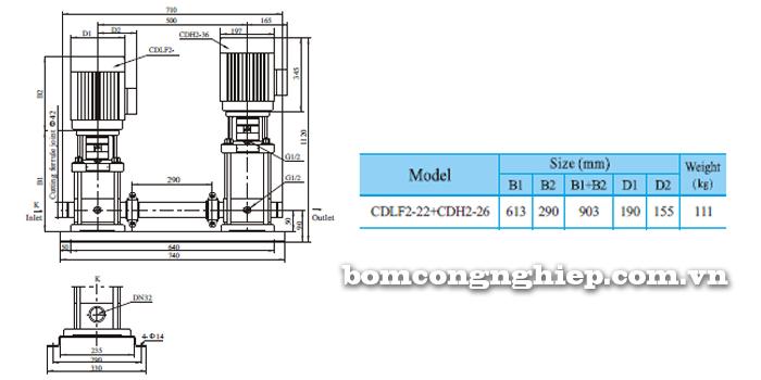 Máy bơm nước trục đứng CNP CDLF2-22 bảng thông số kích thước